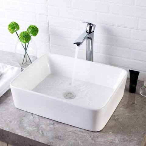 "19""x15"" Rectangle Ceramic Bathroom Vessel Sink"