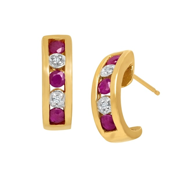 5/8 ct Ruby Half Hoop Earrings with Diamonds in 10K Gold - Red