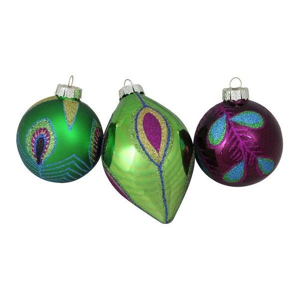 3ct Peacock Ball Design Glass Christmas Ornament Set