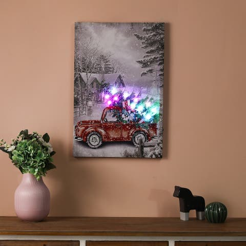 """Christmas Vintage Truck Canvas Print with LED Lights - 15.75"""" W x 23.62""""H"""