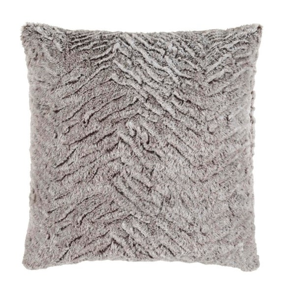 "22"" Mouse Gray and Flour White Woven Decorative Throw Pillow- Down Filler"