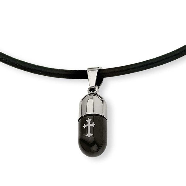 Chisel Stainless Steel Etched Black Color IP-plated Cross Capsul Pendant (3 mm) - 18 in