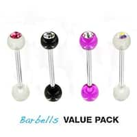 4 Pcs Pack of Assorted CZ Color Surgical Steel Barbells with CZ UV Balls - 14 GA