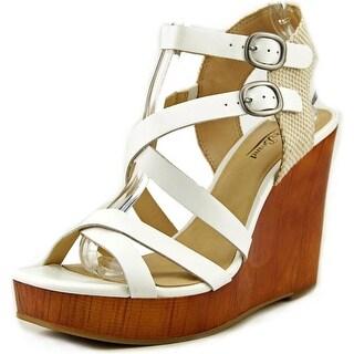 Lucky Brand Lahoya Open Toe Leather Wedge Heel