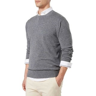 Bloomingdales Mens 2-Ply Cashmere Crewneck Sweater Large L Blue Hazel Knitwear