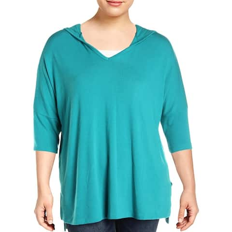 Karen Kane Womens Sweater Hi-Low Hooded - Peacock