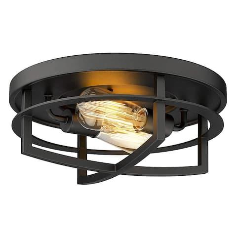 "FEMILA Industrial Ceiling Light, 13"" 2-Light in Antique Black Finish"
