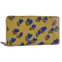 "Gucci Women's 309705 Yellow Betty Heart GG Zip Around Leather Clutch Wallet - 7.75"" x 4"""