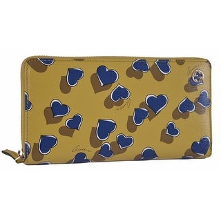 "Gucci Women's 309705 Yellow Betty Heart GG Zip Around Leather Clutch Wallet - 7.75"" x 4"""