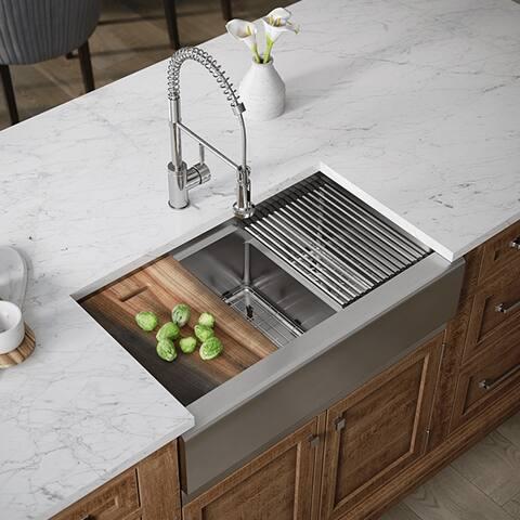407L-LEDGE-ENS Double Bowl Stainless Steel Apron Workstation Sink Ensemble