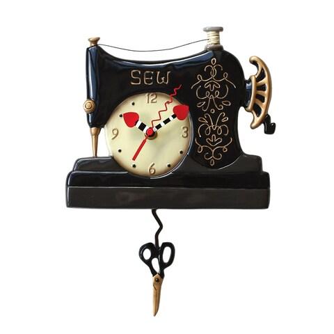 Allen Designs Vintage Stitch Sewing Machine Pendulum Wall Clock