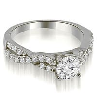 0.90 cttw. 14K White Gold Twisted Split Shank Round Cut Diamond Engagement Ring