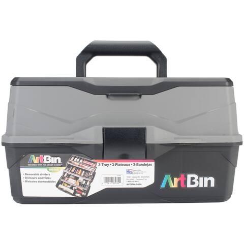 "Artbin Lift Tray Box W/3 Trays & Quick Access Lid Storage-9""X15.75""X8.375""; Black & Gray"
