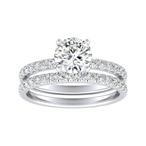 Ethical Sparkle 2 1/4ctw Lab Grown Diamond Engagement Ring Set 14k Gold