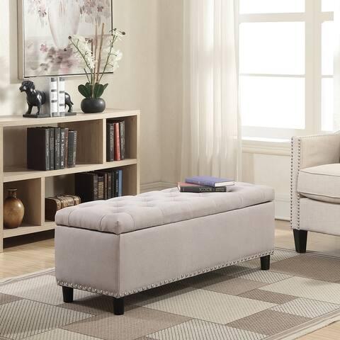 Belleze Upholstered Rectangular Storage Ottoman Bench - standard