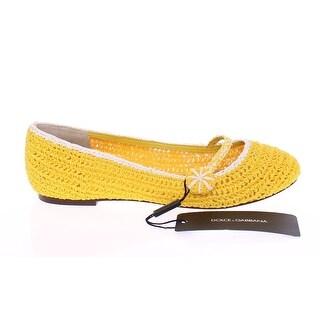Dolce & Gabbana Yellow Viscose Knitted Ballet Flats Shoes - 39