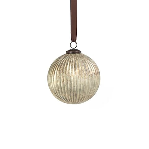 """5.5"""" Antique Silver Ribbed Glass Ball Ornaments, Set of 2"""