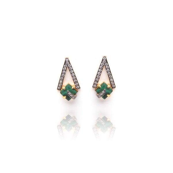 Pyramid Earrings in Green
