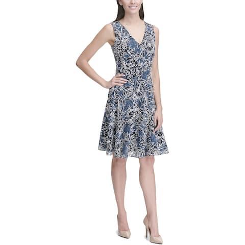 Tommy Hilfiger Womens Petites Casual Dress Floral Lace Sleeveless - Dark Denim