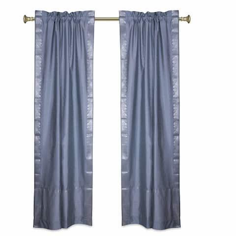 Gray Rod Pocket Sheer Sari Curtains w/ Silver Border-Pair