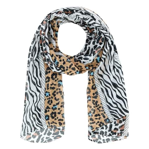 David & Young Women's Multi Animal Print Lightweight Oblong Scarf - one size