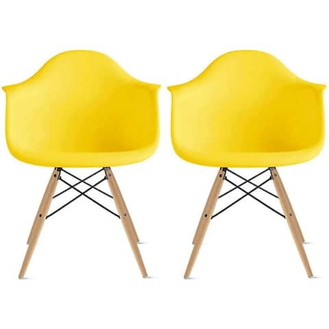 2xhome Set of 2 Designer Dining Eiffel Dowel Chairs Armchairs Matte Accent Natural Wood Retro For Kitchen Bedroom Office Molded