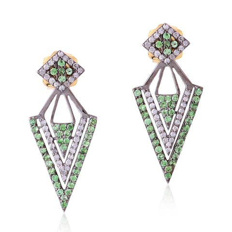 Stud Earrings Studded Tsavorite Gemstone Vintage Diamond 925 Sterling Silver