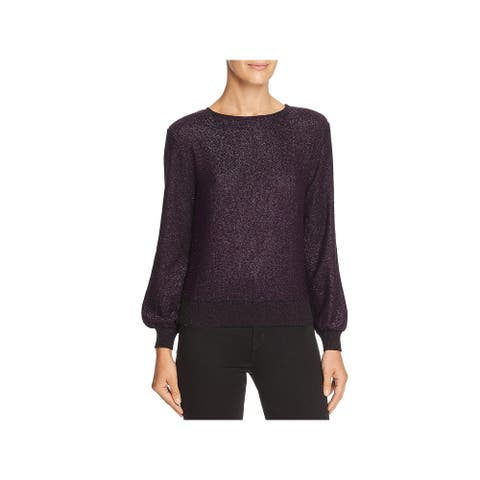 Milly Womens Pullover Sweater Shimmer Metallic - Violet