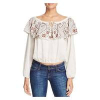 Piper by Townsen Womens Pullover Top Embroidered Ruffled