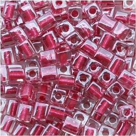 Miyuki 4mm Glass Cube Beads Metallic Pink Lined Crystal 2603 10 Grams
