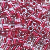 Miyuki 4mm Glass Cube Beads Metallic Pink Lined Crystal 2603 10 Grams