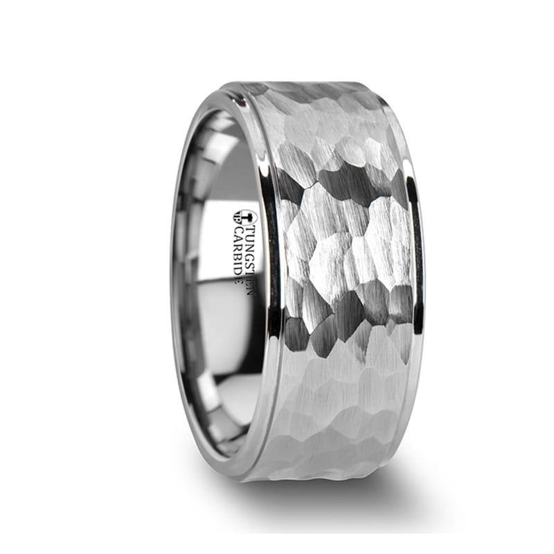 Hammered Finish,Anniversary Ring,Comfort Fit White Tungsten Wedding Band,White Tungsten Ring,Tungsten Band,Tungsten Ring,Tungsten Carbide