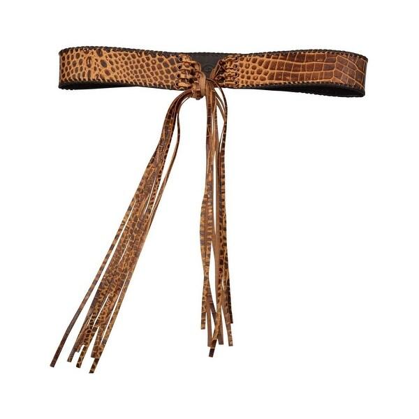 Angel Ranch Western Belt Womens Fashion Gator Fringe Tie Copper