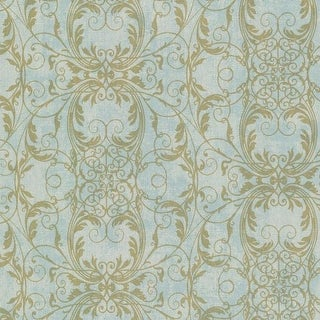 Brewster 2542-20728 Tianna Turquoise Ironwork Scroll Wallpaper