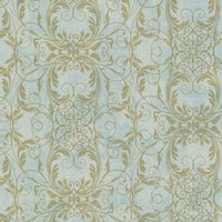 Brewster 2542-20728 Tianna Turquoise Ironwork Scroll Wallpaper