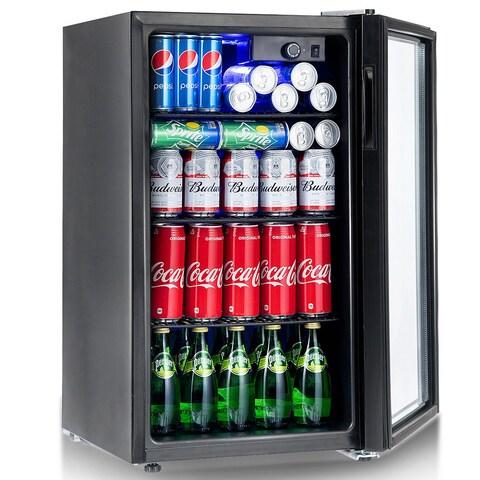 Gymax 120 Can Beverage Refrigerator Beer Wine Soda Drink Cooler Mini Fridge Glass Door - as pic