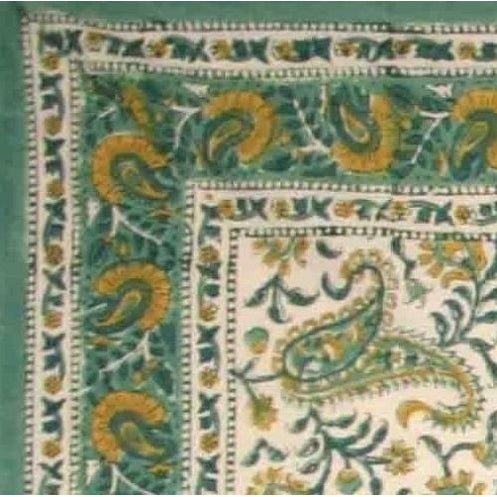 Charmant Handmade Rajasthan Paisley Floral Block Print Tablecloth 100% Cotton  Rectangle Square Round