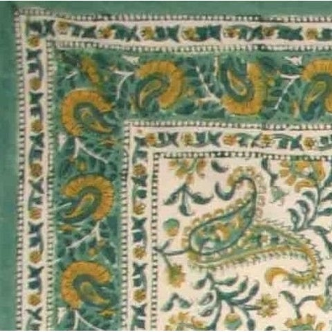 Handmade Rajasthan Paisley Floral Block Print Tablecloth 100% Cotton Rectangle Square Round