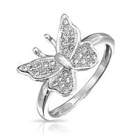 Bling Jewelry 925 Sterling Silver Micropave Clear CZ Small Butterfly Ring