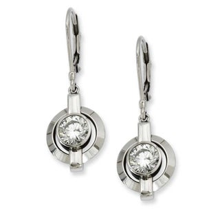 Chisel Titanium CZ Leverback Earrings