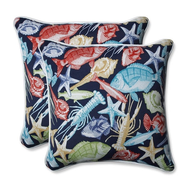 Set of 2 Deep Blue Sea Outdoor Patio Throw Pillows 18.5""