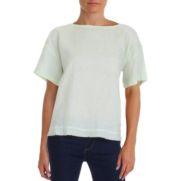 Eileen Fisher Womens Casual Top Raw Edge Hem Back Snap