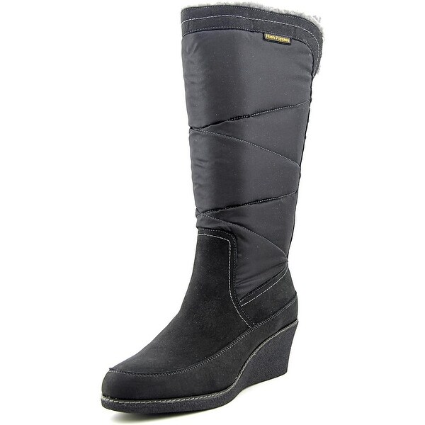 Hush Puppies Hilde Hyde Women W Round Toe Canvas Black Knee High Boot
