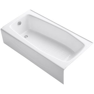 "Kohler K-715 Villager Collection 60"" Three Wall Alcove Cast Iron Three Wall Alcove Soaking Bath Tub with Left Hand Drain"
