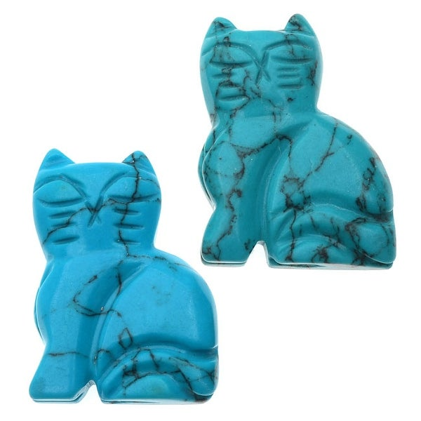 Turquoise Howlite Pendant Beads Kitty Cat Carving 33.5mm