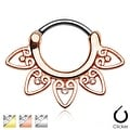 Tribal Fan with Clear Gems 316L Surgical Steel Septum Clicker (Sold Ind.) - Thumbnail 0