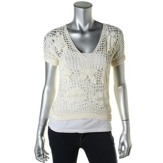 Catherine Malandrino Womens Crochet V-Neck Casual Top - S