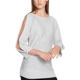 Tommy Hilfiger Womens Pullover Sweater Metallic Split Sleeve - M