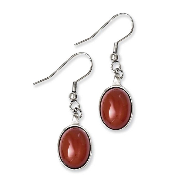 Chisel Stainless Steel Red Agate Earrings