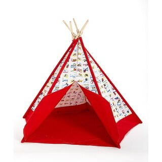 Children`s Canvas Teepee Play Tent Multicolor Alphabet Print 72 In.
